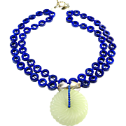 Double Strand Necklace of Brilliant Blue Lapis Discs with carved White Nephrite Jade Bi Disc