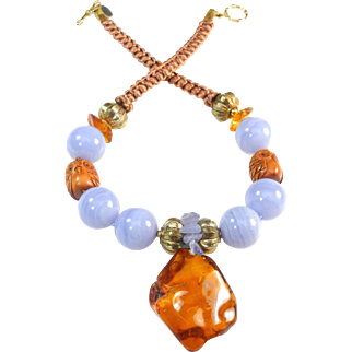 Sky Blue Lace Agate Necklace With Large Natural Amber, Signed Ojime Owls and 18 Carat Gold Plated Beads