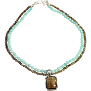 Chic, Head Turning Smoky Quartz  Mounted in a Silver Pendant on Double Strand Necklace of Amazonite and Smoky Quartz