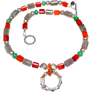 Celtic Buckle Pendant of Sterling Silver and Inlaid Agates on a Necklace of Natural Carnelian, Labradorite , Chrysoprase and Sterling Silver