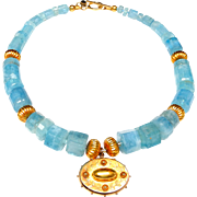 Fine Quality Aquamarine Necklace with 18 Ct Gold and Antique Victorian 15 ct Gold Locket