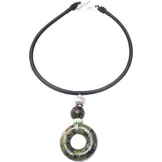 Natural Jade Bi Disc in Mottled Greens, with Natural Black and Green Jades and Traditional Sterling silver on Silk Band