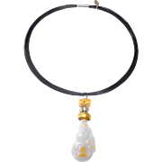 Natural Burmese Jade Pendant of White and Gold of Double Gourd and Mythical Animal, with Sterling Silver, Natural Jade and Glass on Band