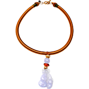 Natural, Blue Chalcedony Carved into Peapods, with Amber and Traditional Gold Plated beads on Silk Band