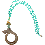 Handmade Silk Chain With Brown Nephrite Jade Dragon, Nephrite Jade and Traditional Gold Plated Beads