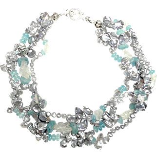 Multi Strand Necklace of Cultured Keshi Pearls with Aquamarine and Rock Crystal