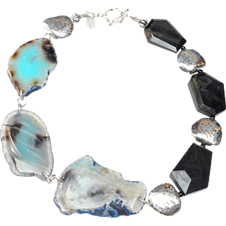 Edgy Necklace of Hammered Sterling Silver, Black Natural Turquoise and Stained Agates