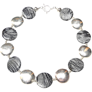 Chic, Natural Picasso Jasper discs Alternate with Sterling Silver Discs for an Easy Necklace