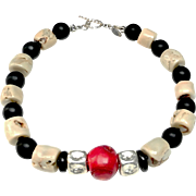 Berry Red Dyed Bamboo Coral offsets Natural Cream Bamboo Coral, Natural Onyx and Sterling Silver