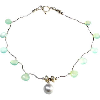 Delicate Necklace of Heat Treated Chalcedony and Sterling Silver with a Large, Cultured, Silver, Baroque Pearl