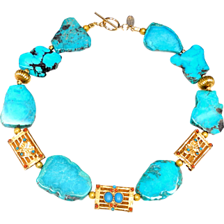 Turquoise Necklace Interspersed with Gold Plated Afghan Panels
