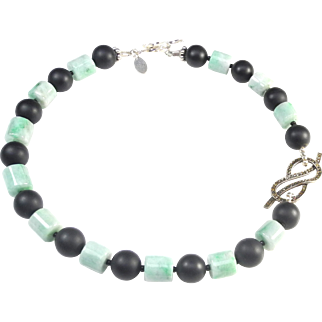 Chic Apple Green Natural Jadeite Cylinders Alternate with Mat Onyx on a Necklace with Marcasite