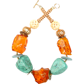 Necklace of Amber, Chrysocolla, Chinese Coins and Afghan Plated Gold