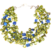 Four Strands of Lime Green Cultured Freshwater Keshi Pearls with Lapis