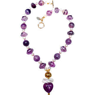 Fluorite Heart and Cultured Freshwater Pearl Necklace