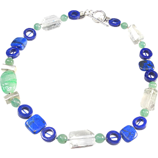 Necklace of Brilliant Natural Lapis, Natural Green Aventurine, Natural Rock Crystal, Natural Jadeite, and Sterling Silver