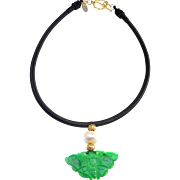 Delicate Jadeite Butterfly with Large Cultured Baroque Pearl and Gold Plated Beads on Handmade Necklace Band of Silk and Polyester