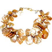 Tawny Coloured Large, Natural, Cultured Keshi Pearls