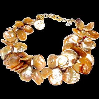 Tawny Coloured Large, Natural, Cultured Keshi Pearls