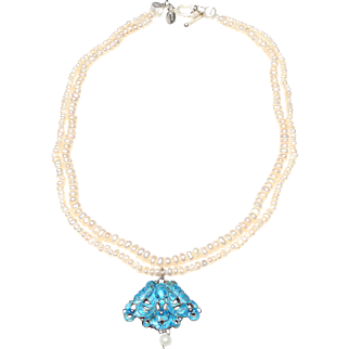 Old Butterfly Pendant of Chinese Export Silver in Kingfisher Blue Enamel, on a Double Strand Necklace of Natural, Cultured Baroque Pearls