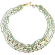Multi strand Necklace of Natural Jadeite, Aventurine and Ethiopian Heishi Brass Beads