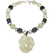 Carved Natural White Jade Dragon Pendant on Necklace of Sterling Silver, Natural Onyx, and Natural White Nephrite Jade