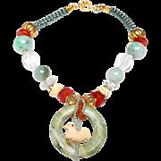 Natural Burma Jadeite Bi Disc on Necklace of Natural Burma Jadeite, Traditional Brass; Amber, Bone, Carnelian, Boxwood Ojimi and Copal