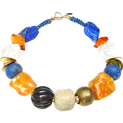 Necklace of Natural Golden Amber, Lapis, Crystal, Nephrite White and Brown Carved Jades and Chinese Coins
