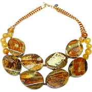 Double Strand Necklace of Natural Butterscotch Agate Slices and Beads