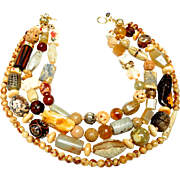 Four Strand Statement Necklace of Natural Elements, of Jade, Amber, Agate, Bone, Seed, Wood and More