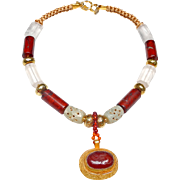 Natural Carnelian Intaglio Set in 18 ct Gold on Silver, on Necklace of 18 ct Gold, Calcified Jade, Crystal and Natural Jasper