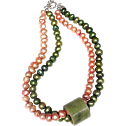 Natural Moss Green Jade Chinese Thumb Guard on Two Strands of Cultured Baroque Freshwater Pearl Necklace