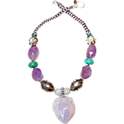 Lavender Jade Peach with Deer on Amethyst, Turquoise and Silver