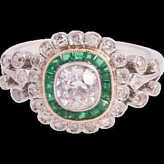 Lovely Art Deco Cushion Cut Diamond and Emerald Ring