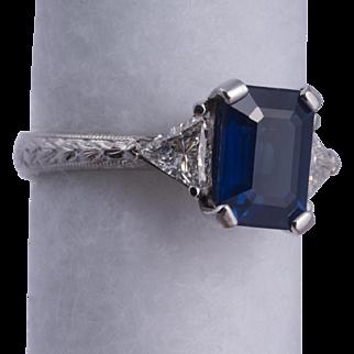 Stunning Emerald Cut Blue Sapphire and Diamond Ring