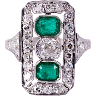 Lovely Art Deco Emerald and Diamond Ring