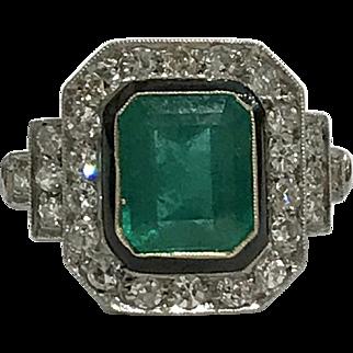 Fabulous Emerald, Diamond and Enamel Ring