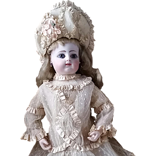 Very Beautiful French Bebe Costume with Bonnet - Pretty Silk Ribbon and Point d'Esprit Tulle