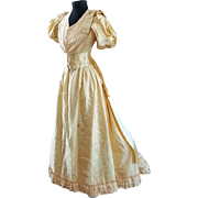 Gorgeous Circa 1890's Victorian Ball Gown in Luscious Canary Yellow Silk Damask