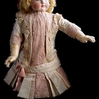 Marvelous Antique French Silk Bebe Costume of 1880s Drop Waist Design