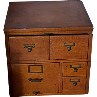 Vintage Library Bureau Sole Makers 5 Drawer Card File Cabinet