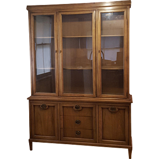 Glass and Solid Wood Mid Century Buffet and Hutch