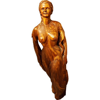 Betty Wilcox Signed Wooden Carved Statuette, Wonderful Vintage Original Carving
