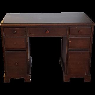 Great Vintage Solid Wood Desk - 7 Drawers - Dark Wood Finish - Mid Century