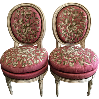 Pair Early Napoleon III Painted Salon Chairs