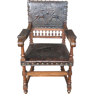 Antique Spanish Leather Chair