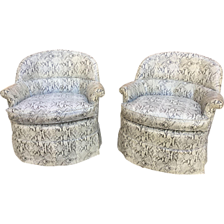 Pair of French 1940's Faux Snake-Skin Club Chairs