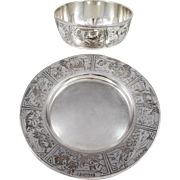 Sterling Silver Child's Bowl and Tray