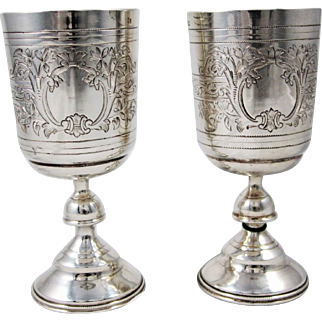 Pair of Russian Silver Cups