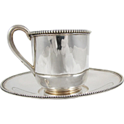 Tiffany Coin Silver Cup and Saucer